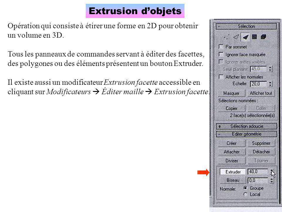 Extrusion d'objets Opération qui consiste à étirer une forme en 2D pour obtenir un volume en 3D. Tous les panneaux de commandes servant à éditer des f