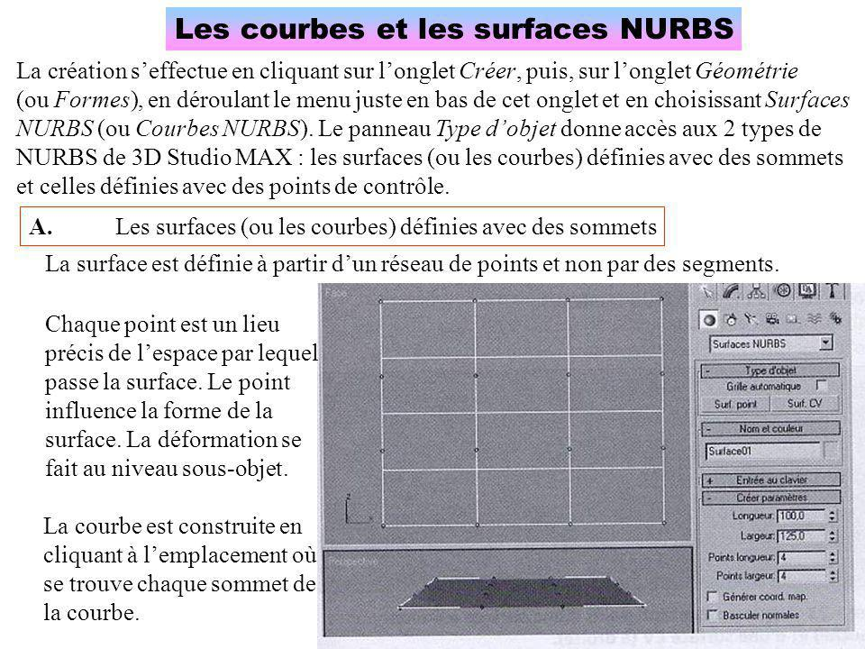 Les courbes et les surfaces NURBS La création s'effectue en cliquant sur l'onglet Créer, puis, sur l'onglet Géométrie (ou Formes), en déroulant le menu juste en bas de cet onglet et en choisissant Surfaces NURBS (ou Courbes NURBS).