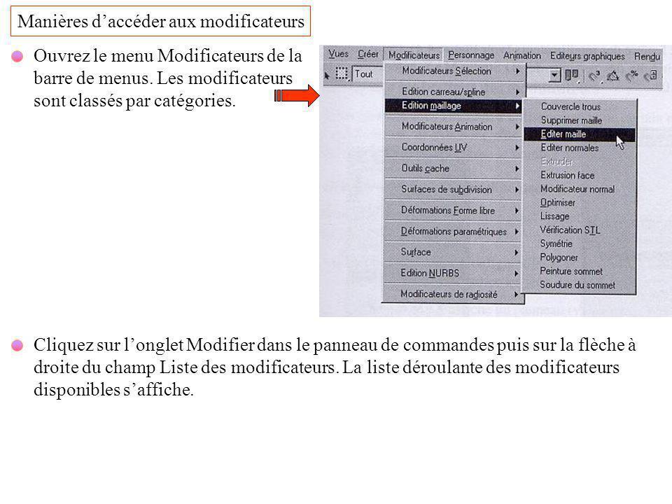 Manières d'accéder aux modificateurs Ouvrez le menu Modificateurs de la barre de menus. Les modificateurs sont classés par catégories. Cliquez sur l'o