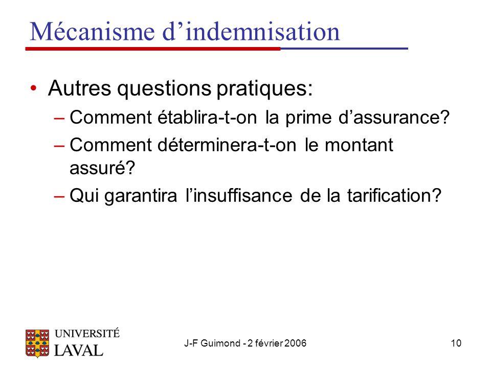 J-F Guimond - 2 février 200610 Mécanisme d'indemnisation Autres questions pratiques: –Comment établira-t-on la prime d'assurance.