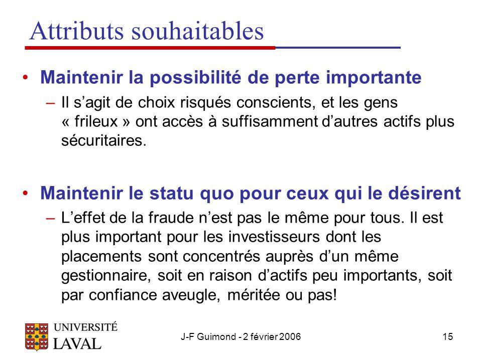 J-F Guimond - 2 février 200615 Attributs souhaitables Maintenir la possibilité de perte importante –Il s'agit de choix risqués conscients, et les gens « frileux » ont accès à suffisamment d'autres actifs plus sécuritaires.