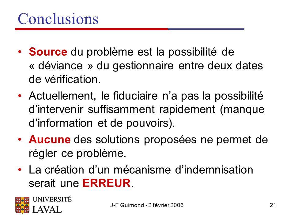 J-F Guimond - 2 février 200621 Conclusions Source du problème est la possibilité de « déviance » du gestionnaire entre deux dates de vérification.