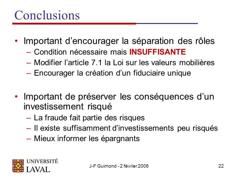 J-F Guimond - 2 février 200622 Conclusions Important d'encourager la séparation des rôles –Condition nécessaire mais INSUFFISANTE –Modifier l'article 7.1 la Loi sur les valeurs mobilières –Encourager la création d'un fiduciaire unique Important de préserver les conséquences d'un investissement risqué –La fraude fait partie des risques –Il existe suffisamment d'investissements peu risqués –Mieux informer les épargnants