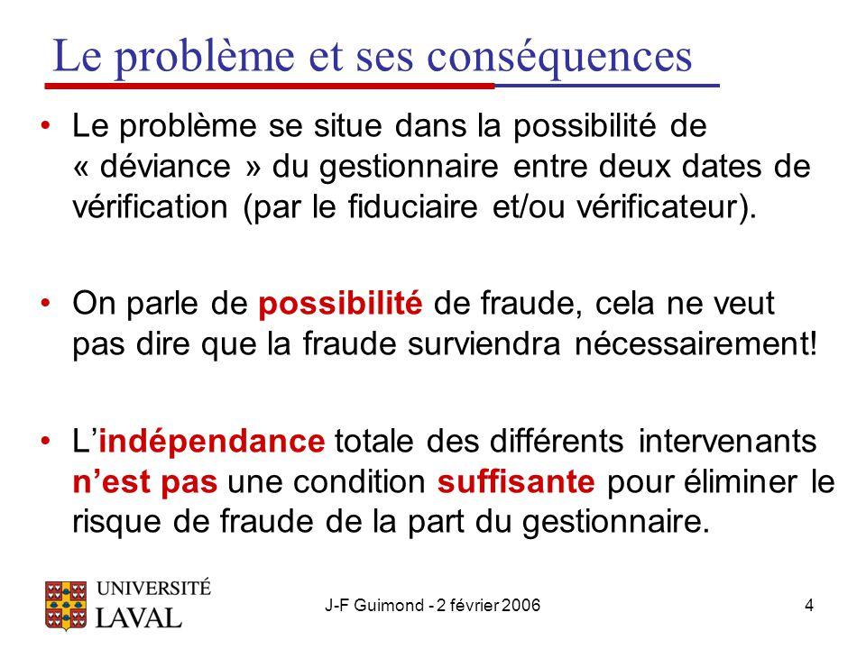 J-F Guimond - 2 février 20064 Le problème et ses conséquences Le problème se situe dans la possibilité de « déviance » du gestionnaire entre deux dates de vérification (par le fiduciaire et/ou vérificateur).