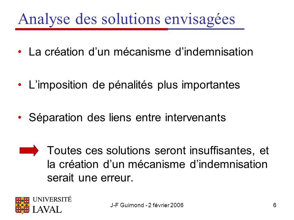 J-F Guimond - 2 février 20066 Analyse des solutions envisagées La création d'un mécanisme d'indemnisation L'imposition de pénalités plus importantes Séparation des liens entre intervenants Toutes ces solutions seront insuffisantes, et la création d'un mécanisme d'indemnisation serait une erreur.