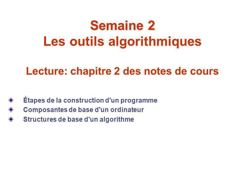 Semaine 2 Semaine 2 Les outils algorithmiques Lecture: chapitre 2 des notes de cours Étapes de la construction d'un programme Composantes de base d'un