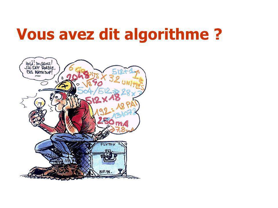 Vous avez dit algorithme ?