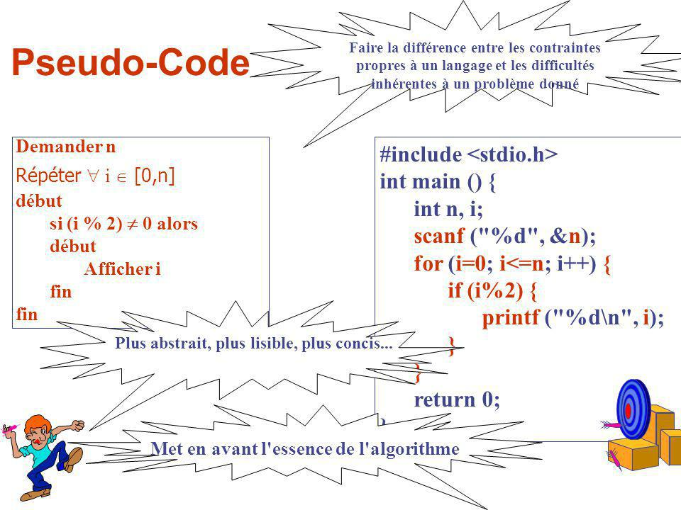 Pseudo-Code #include int main () { int n, i; scanf (