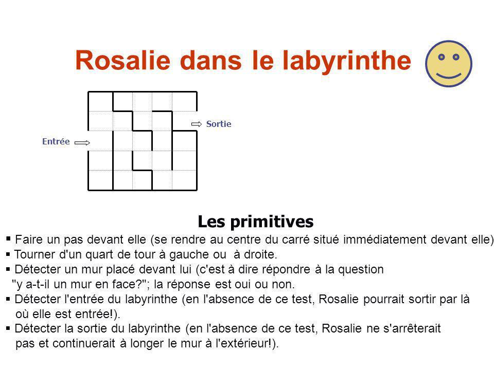 Rosalie dans le labyrinthe Entrée Sortie  Faire un pas devant elle (se rendre au centre du carré situé immédiatement devant elle).  Tourner d'un qua