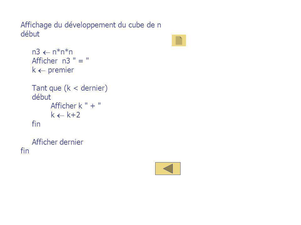 Affichage du développement du cube de n début n3  n*n*n Afficher n3