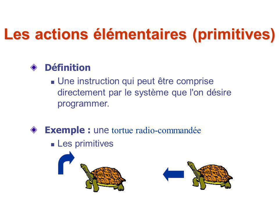 Les actions élémentaires (primitives) Définition Une instruction qui peut être comprise directement par le système que l'on désire programmer. Exemple