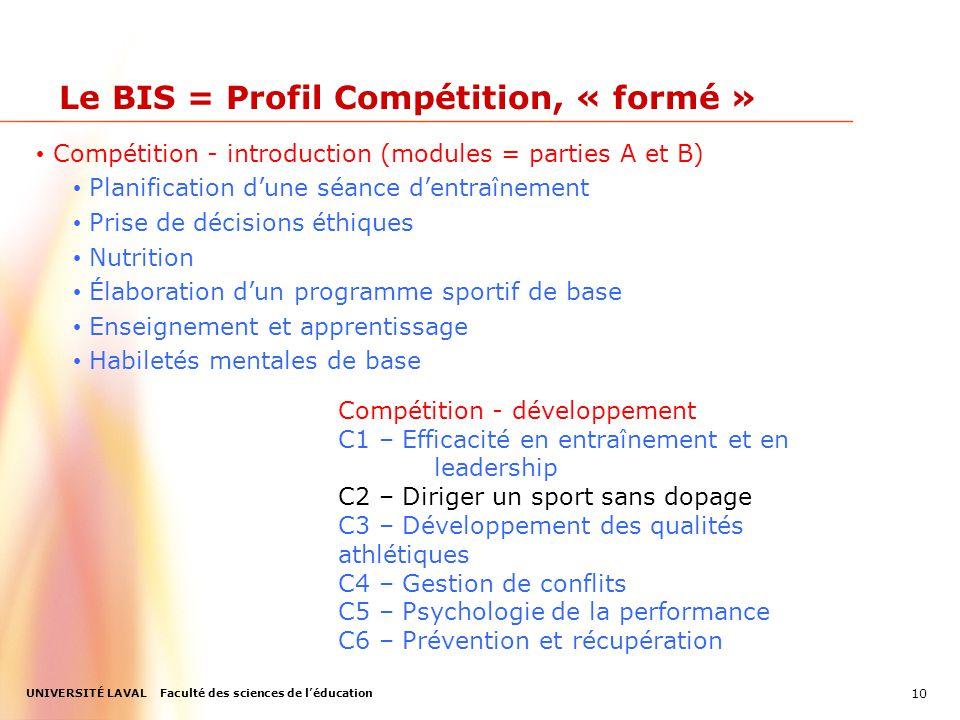 UNIVERSITÉ LAVAL Faculté des sciences de l'éducation Le BIS = Profil Compétition, « formé » Compétition - introduction (modules = parties A et B) Planification d'une séance d'entraînement Prise de décisions éthiques Nutrition Élaboration d'un programme sportif de base Enseignement et apprentissage Habiletés mentales de base 10 Compétition - développement C1 – Efficacité en entraînement et en leadership C2 – Diriger un sport sans dopage C3 – Développement des qualités athlétiques C4 – Gestion de conflits C5 – Psychologie de la performance C6 – Prévention et récupération