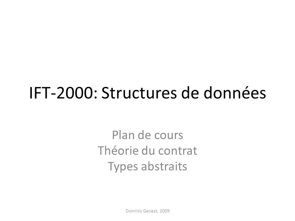 IFT-2000: Structures de données Plan de cours Théorie du contrat Types abstraits Dominic Genest, 2009