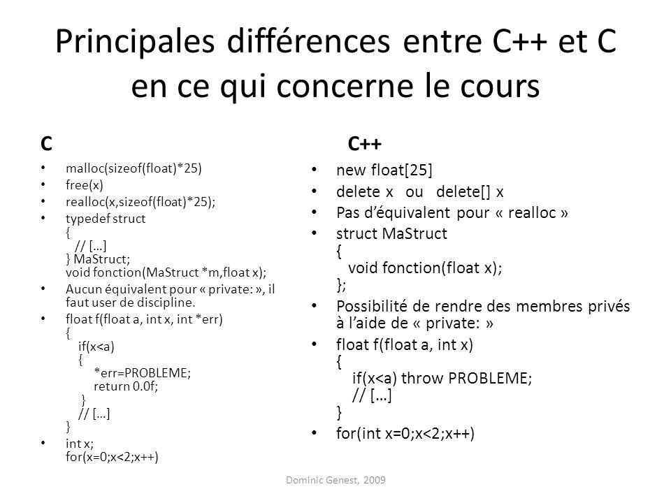 Principales différences entre C++ et C en ce qui concerne le cours C malloc(sizeof(float)*25) free(x) realloc(x,sizeof(float)*25); typedef struct { // […] } MaStruct; void fonction(MaStruct *m,float x); Aucun équivalent pour « private: », il faut user de discipline.
