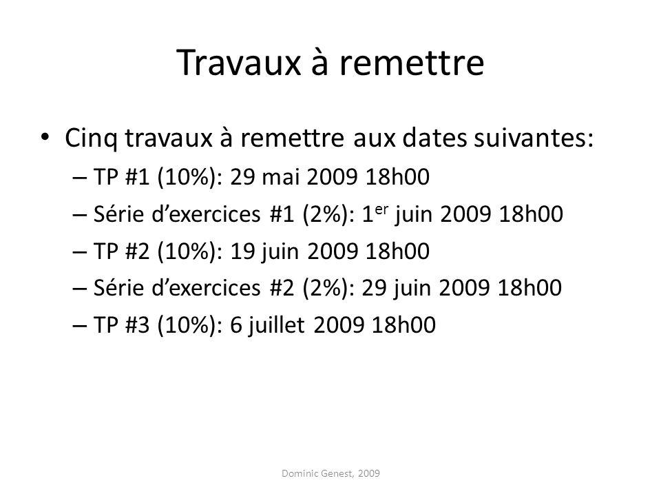 Travaux à remettre Cinq travaux à remettre aux dates suivantes: – TP #1 (10%): 29 mai 2009 18h00 – Série d'exercices #1 (2%): 1 er juin 2009 18h00 – TP #2 (10%): 19 juin 2009 18h00 – Série d'exercices #2 (2%): 29 juin 2009 18h00 – TP #3 (10%): 6 juillet 2009 18h00 Dominic Genest, 2009