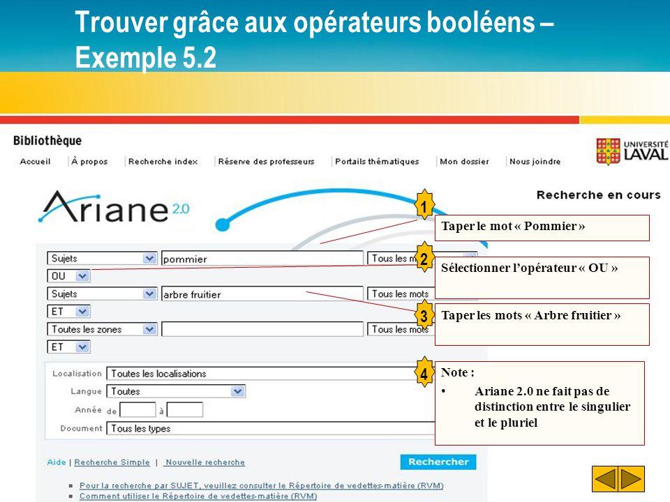Trouver grâce aux opérateurs booléens – Exemple 5.2 1 2 Taper le mot « Pommier » Sélectionner l'opérateur « OU » Taper les mots « Arbre fruitier » 3 N