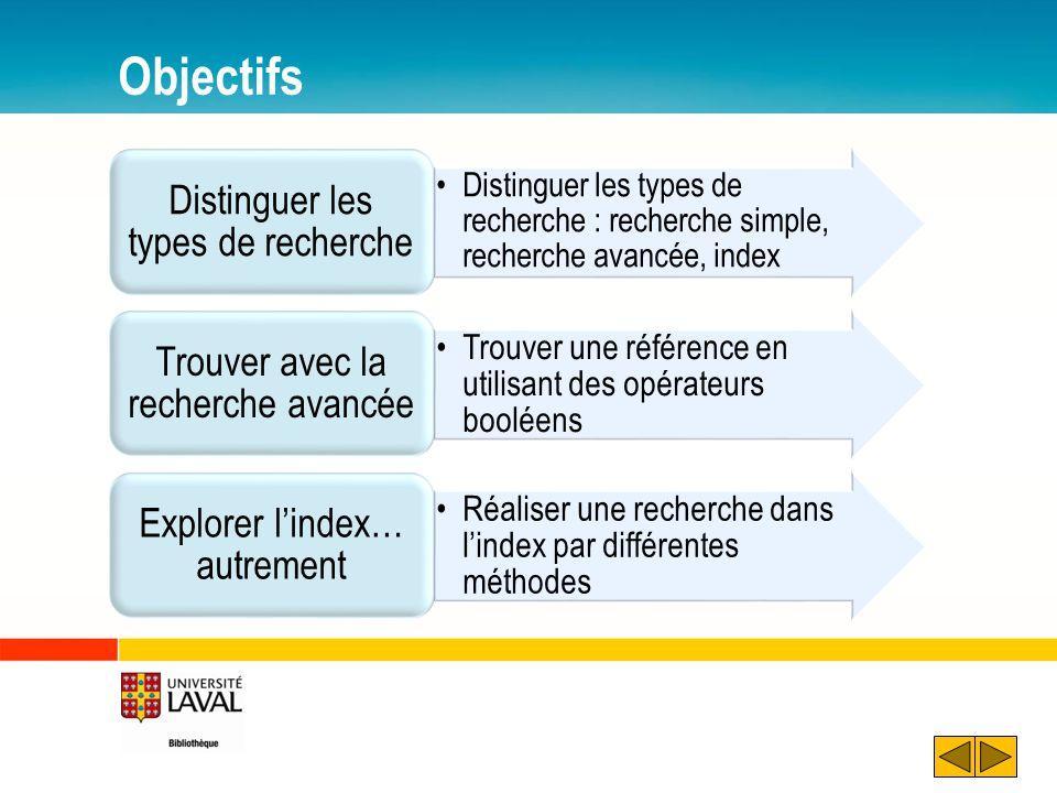 Objectifs Distinguer les types de recherche : recherche simple, recherche avancée, index Distinguer les types de recherche Trouver une référence en ut