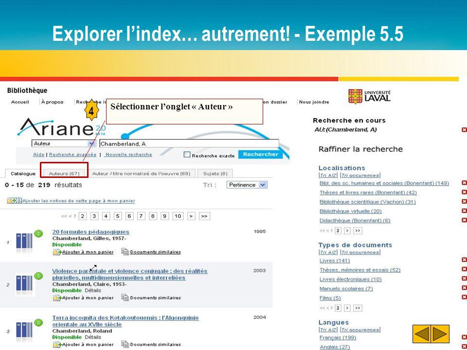 Explorer l'index… autrement! - Exemple 5.5 4 Sélectionner l'onglet « Auteur »
