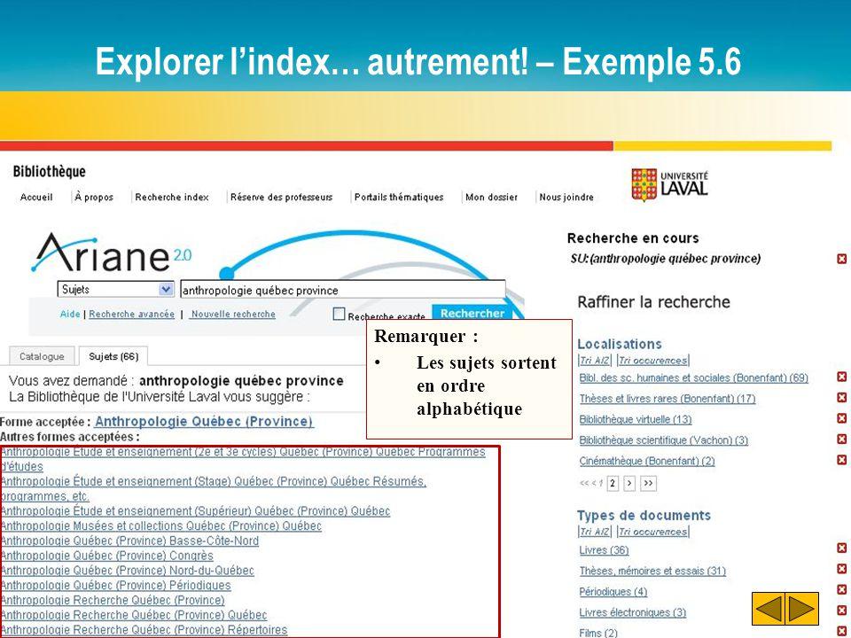 Explorer l'index… autrement! – Exemple 5.6 Remarquer : Les sujets sortent en ordre alphabétique