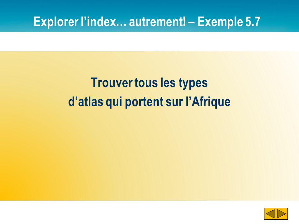 Explorer l'index… autrement! – Exemple 5.7