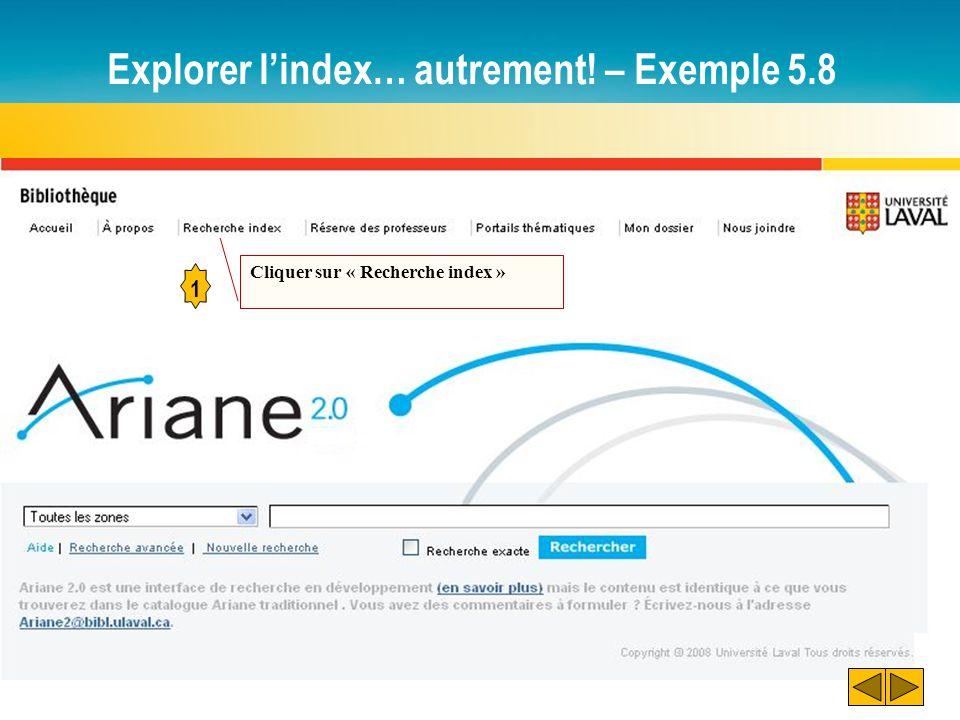 Explorer l'index… autrement! – Exemple 5.8 1 Cliquer sur « Recherche index »