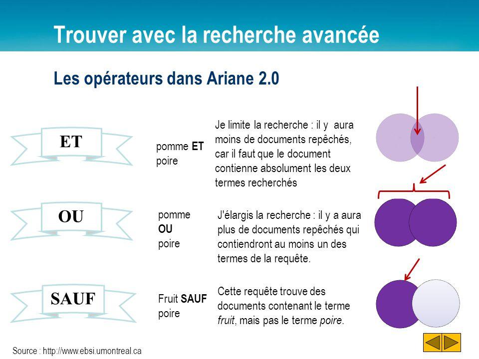 Trouver avec la recherche avancée Les opérateurs dans Ariane 2.0 ET OU SAUF pomme ET poire Je limite la recherche : il y aura moins de documents repêc