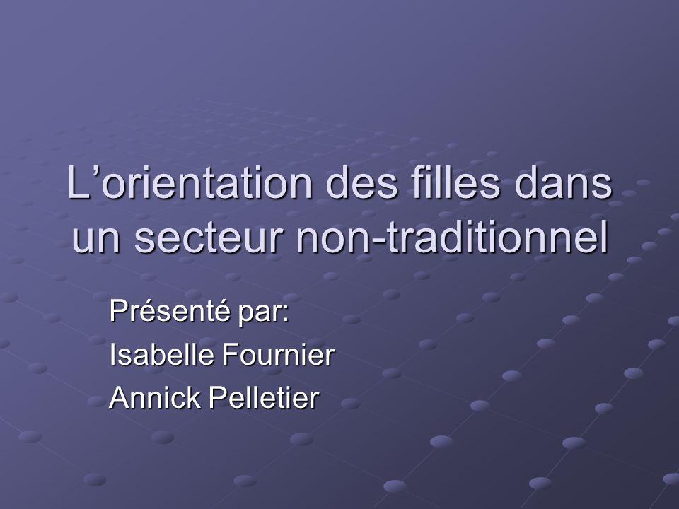 L'orientation des filles dans un secteur non-traditionnel Présenté par: Isabelle Fournier Annick Pelletier