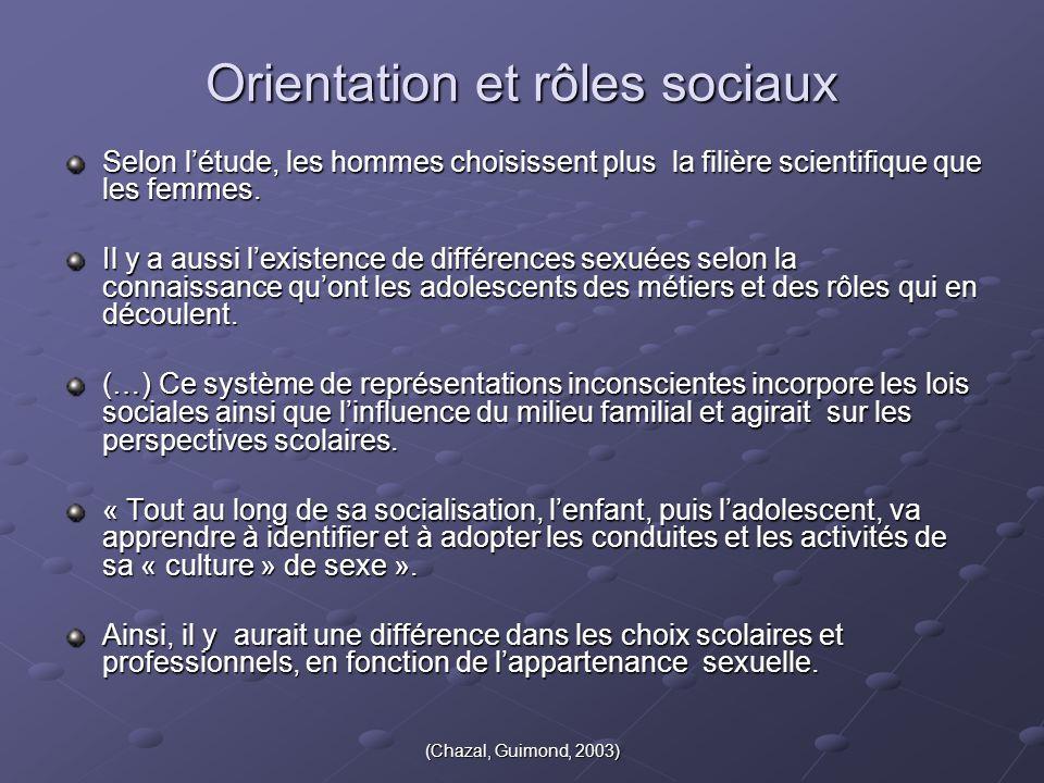 (Chazal, Guimond, 2003) Orientation et rôles sociaux Selon l'étude, les hommes choisissent plus la filière scientifique que les femmes. Il y a aussi l