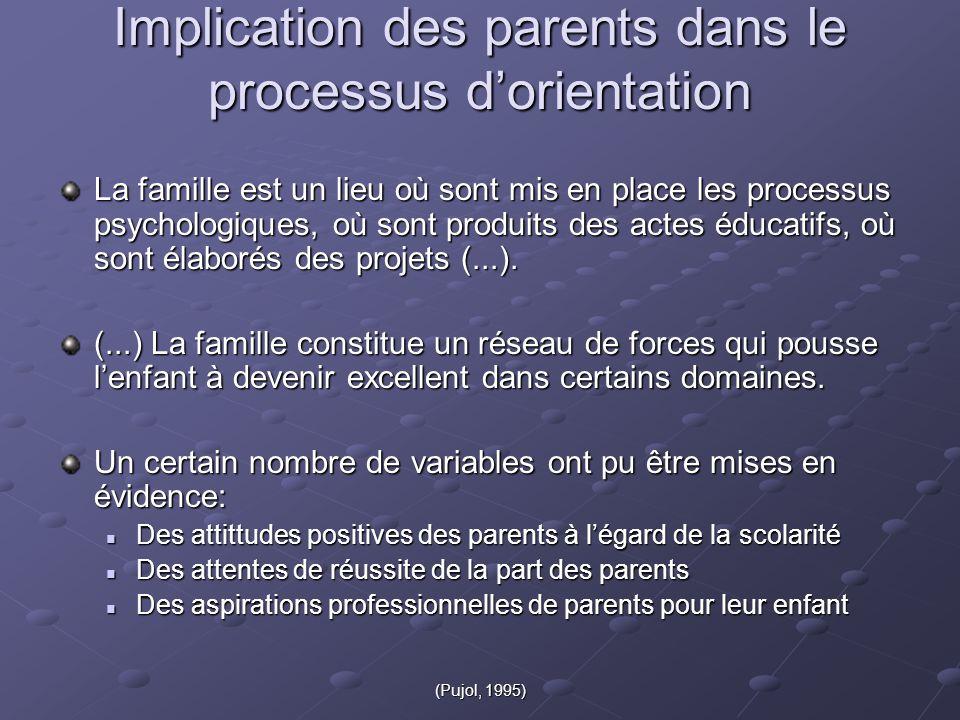 (Pujol, 1995) Implication des parents dans le processus d'orientation La famille est un lieu où sont mis en place les processus psychologiques, où sont produits des actes éducatifs, où sont élaborés des projets (...).