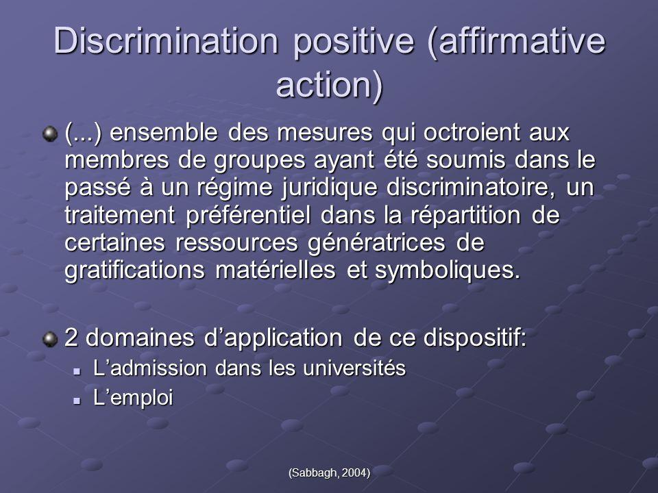 (Sabbagh, 2004) Discrimination positive (affirmative action) (...) ensemble des mesures qui octroient aux membres de groupes ayant été soumis dans le
