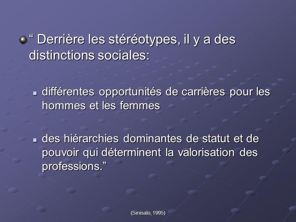 """(Sinisalo, 1995) """" Derrière les stéréotypes, il y a des distinctions sociales: différentes opportunités de carrières pour les hommes et les femmes dif"""