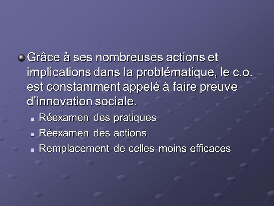 Grâce à ses nombreuses actions et implications dans la problématique, le c.o. est constamment appelé à faire preuve d'innovation sociale. Réexamen des