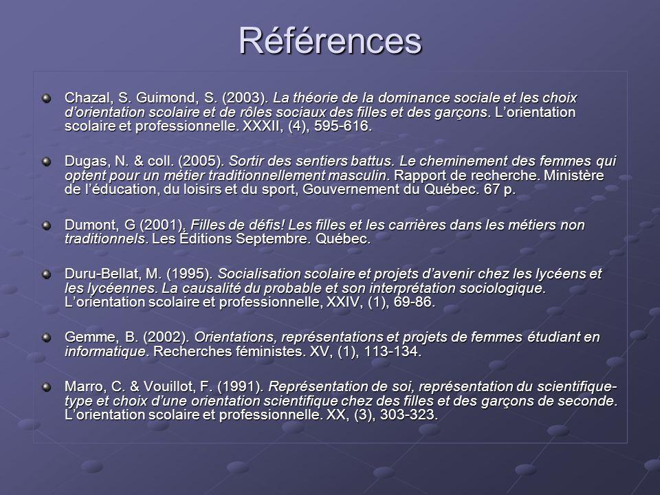 Références Chazal, S. Guimond, S. (2003). La théorie de la dominance sociale et les choix d'orientation scolaire et de rôles sociaux des filles et des