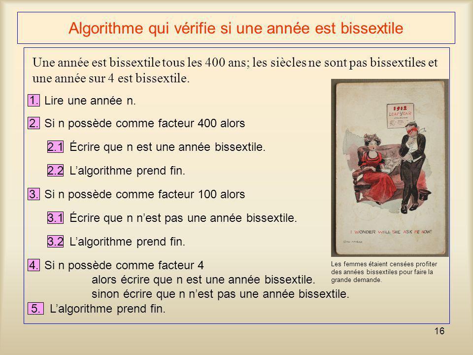16 Algorithme qui vérifie si une année est bissextile Une année est bissextile tous les 400 ans; les siècles ne sont pas bissextiles et une année sur