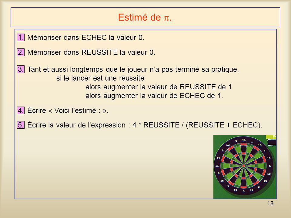 18 Estimé de . 1. Mémoriser dans ECHEC la valeur 0. 2. Mémoriser dans REUSSITE la valeur 0. 3. Tant et aussi longtemps que le joueur n'a pas terminé