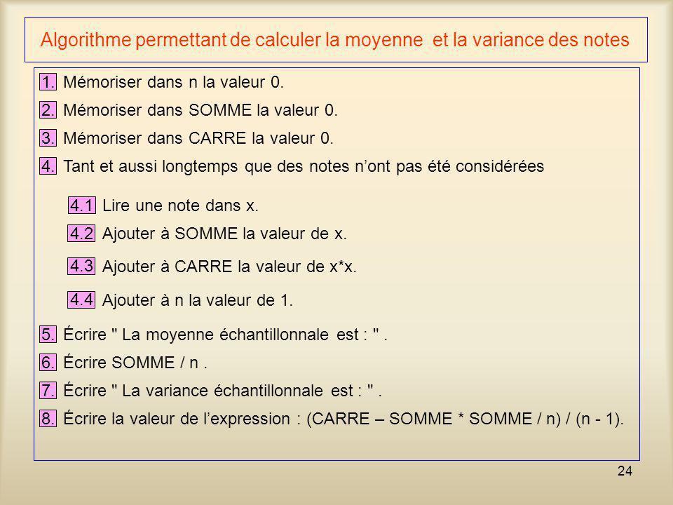 24 Algorithme permettant de calculer la moyenne et la variance des notes 1. Mémoriser dans n la valeur 0. 2. Mémoriser dans SOMME la valeur 0. 3. Mémo