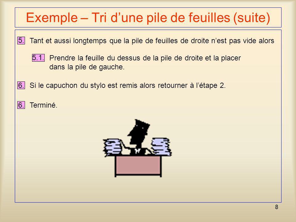 9 Exemple – Lister les indices d'un sac de billes 1.