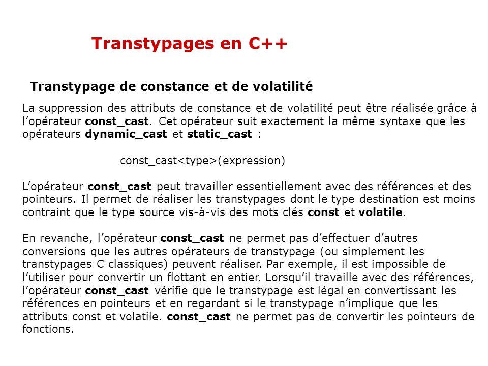 Transtypages en C++ Transtypage de constance et de volatilité La suppression des attributs de constance et de volatilité peut être réalisée grâce à l'opérateur const_cast.
