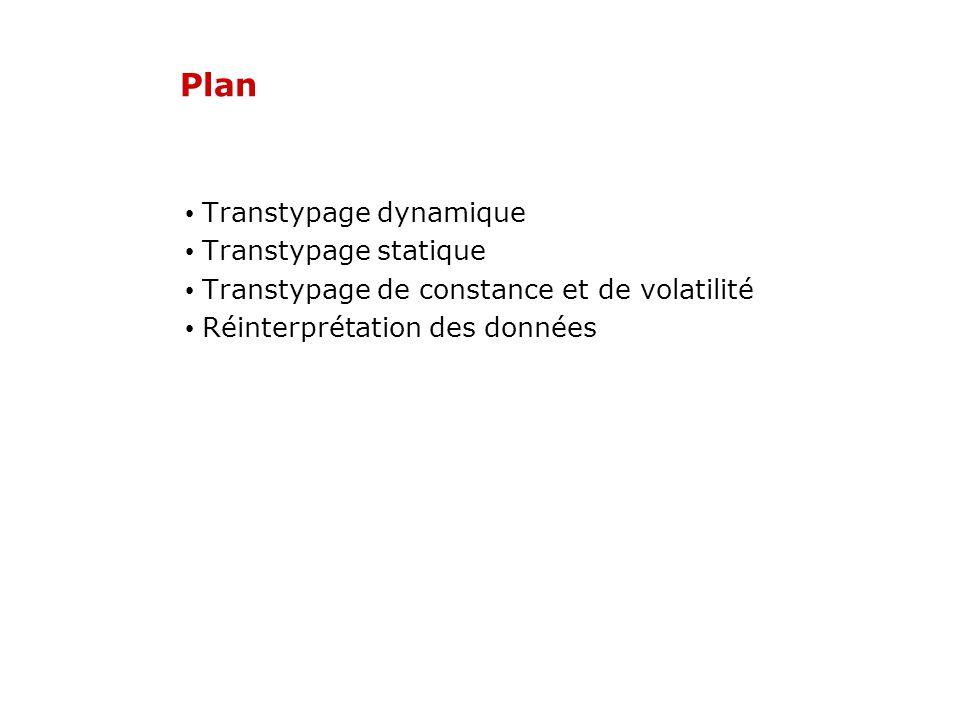 Plan Transtypage dynamique Transtypage statique Transtypage de constance et de volatilité Réinterprétation des données