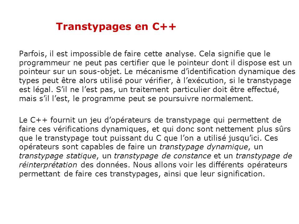 Transtypages en C++ Parfois, il est impossible de faire cette analyse. Cela signifie que le programmeur ne peut pas certifier que le pointeur dont il