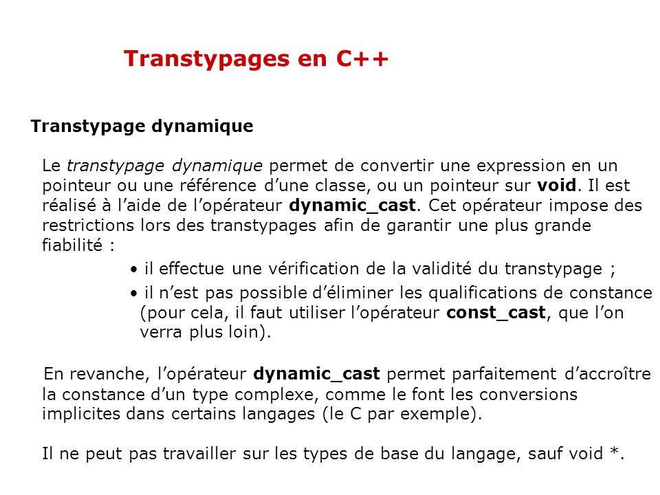 Transtypages en C++ Transtypage dynamique Le transtypage dynamique permet de convertir une expression en un pointeur ou une référence d'une classe, ou un pointeur sur void.