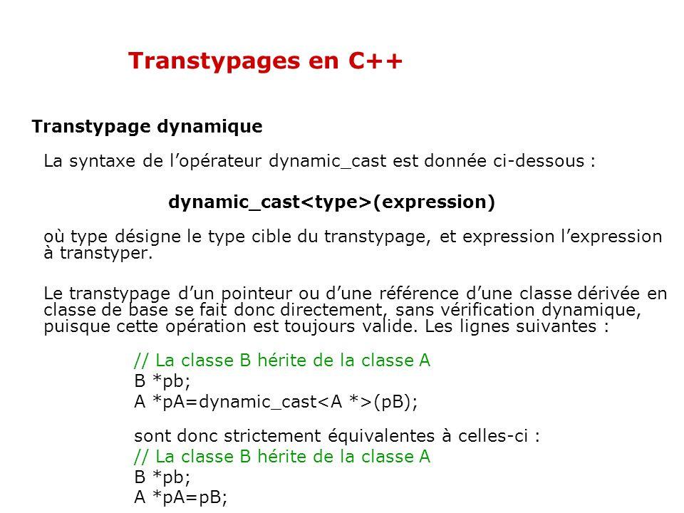 Transtypages en C++ Transtypage dynamique La syntaxe de l'opérateur dynamic_cast est donnée ci-dessous : dynamic_cast (expression) où type désigne le type cible du transtypage, et expression l'expression à transtyper.