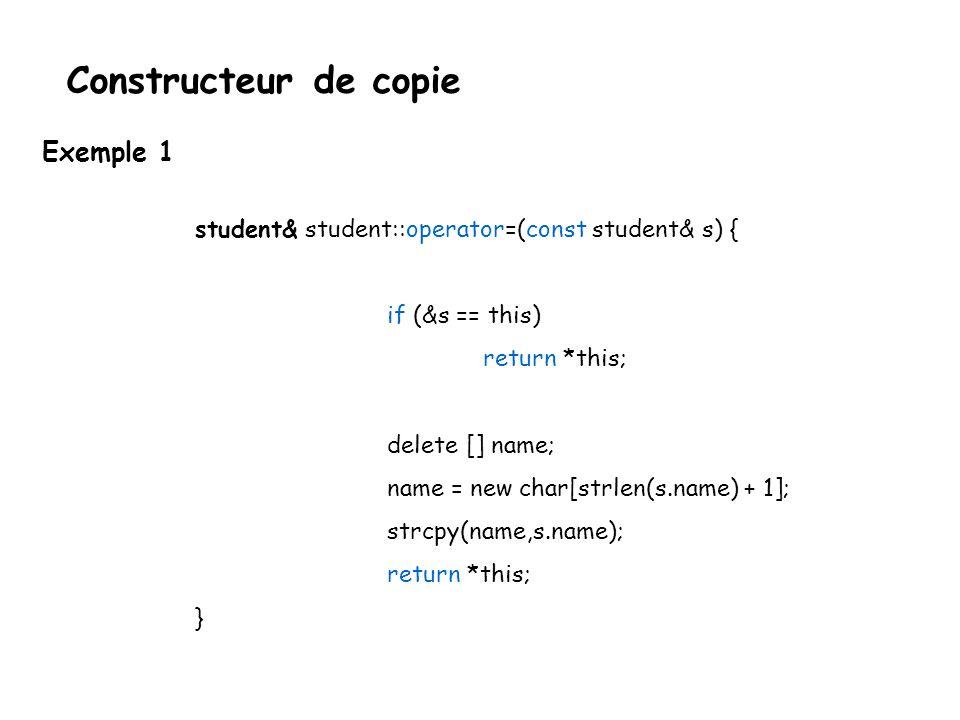 Constructeur de copie  Toute classe a nécessairement un constructeur de copie.
