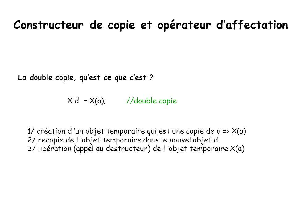 Constructeur de copie class Obj{ private: int* a; public: Obj(); Obj(const Obj&); ~Obj(); }; Obj::Obj(const Obj& cpy){ a = new int[10]; for(int i=0; i<10;i++) { a[i]=cpy[i]; } La déclaration ressemble à :
