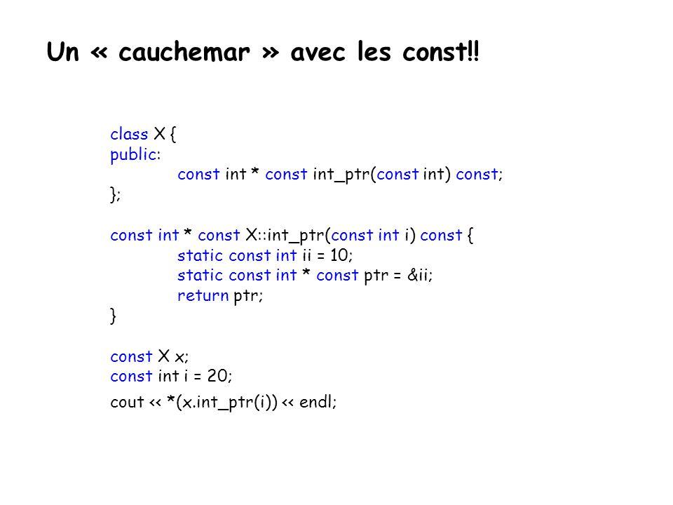 Classe orthodoxe et canonique La classe minimale correcte doit contenir les méthodes suivantes: class X { public: X() {...}; X(const X&) {...}; X& operator=(const X&) {...}; ~X() {...}; } ; On parle alors de classes selon la forme de Coplien : une classe doit impérativement contenir un constructeur par défaut, un constructeur de recopie, un destructeur et une surcharge de l opérateur d affectation.