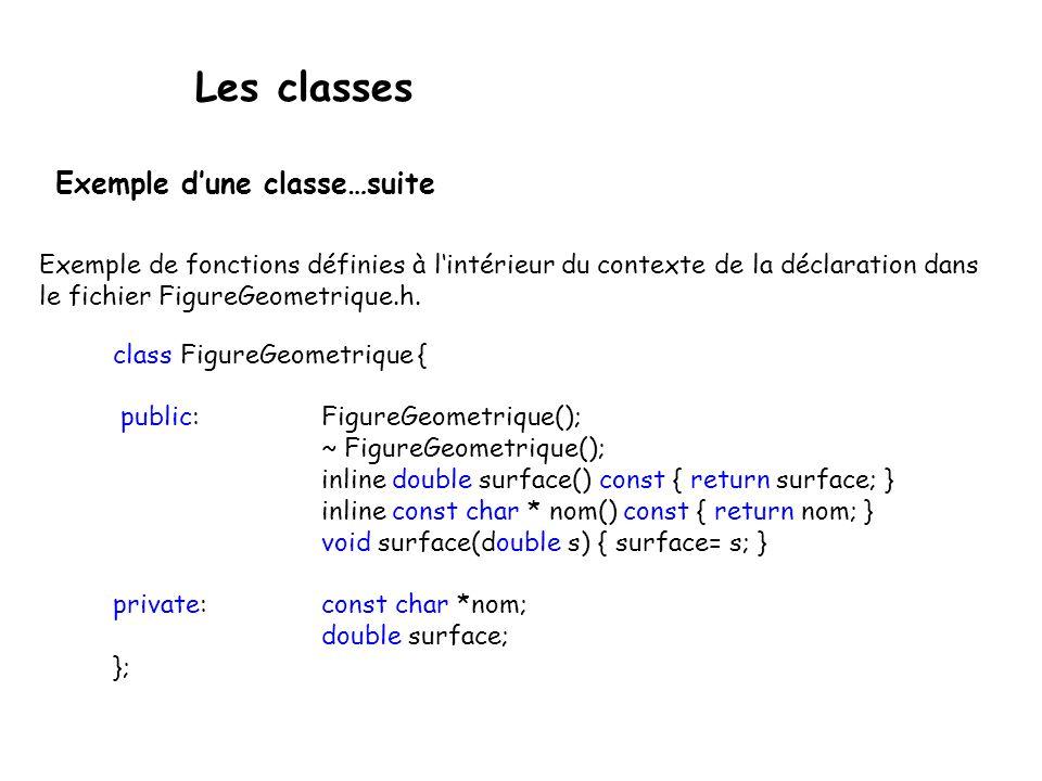 Les classes Les fonctions « inline» doivent être définies dans le même fichier que celui dans lequel est déclarée la classe.