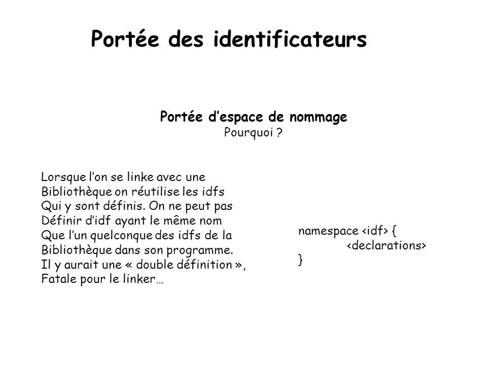 Portée de classe Après l'opérateur de résolution de portée appliqué à la classe class X { public: static void A() {…}; int a() { return b() + c();} private: int b() {…}; int c() {…}; int d() { return 2* a();} }; X:: A(); Portée des identificateurs