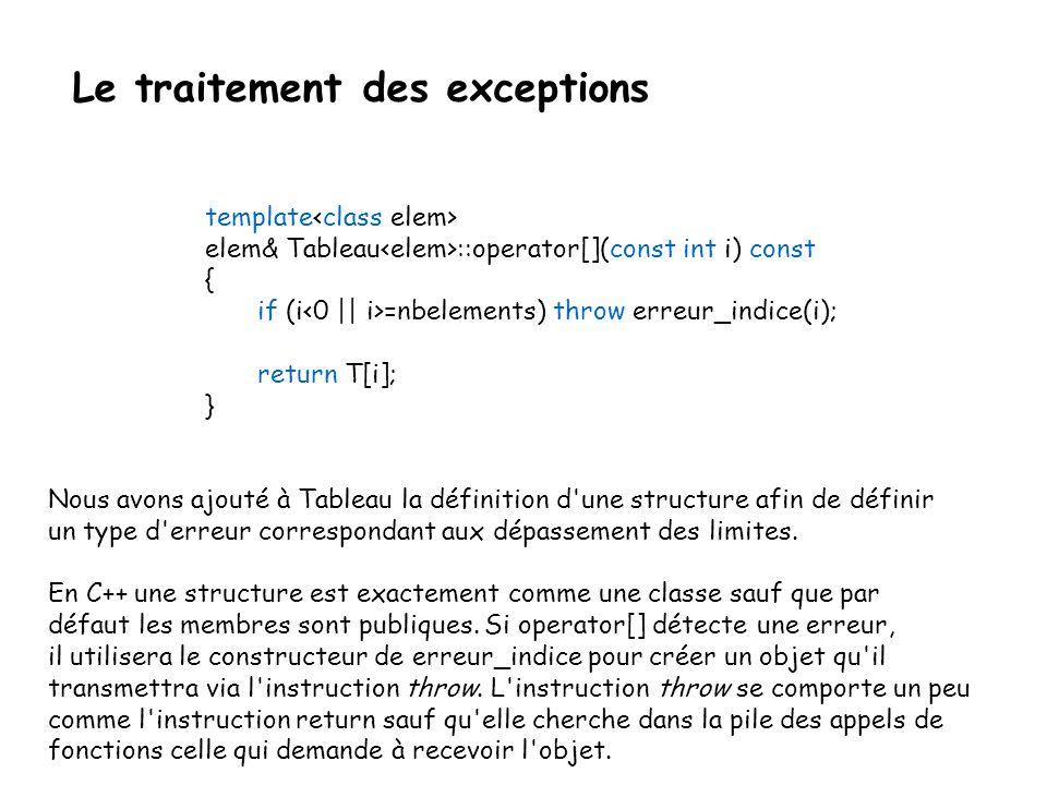 Le traitement des exceptions template class Tableau{ elem nbelements; elem *T; public: struct erreur_indice { int indice; erreur_indice(int i){indice=i;}; }; Tableau(int); Tableau(const Tableau&); ~Tableau() {delete[] T;}; int longueur() const {return nbelements;}; elem& operator[](int) const; Tableau& operator=(const Tableau&); };