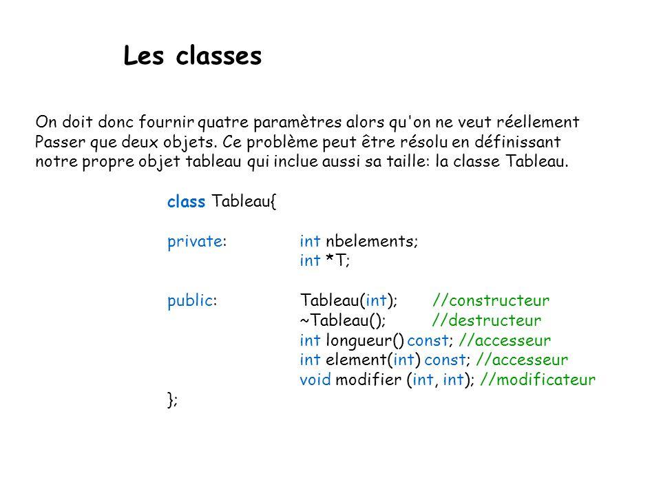 Les classes Nous allons reprendre ce concept et l'illustrer à l aide de l exemple des tableaux.