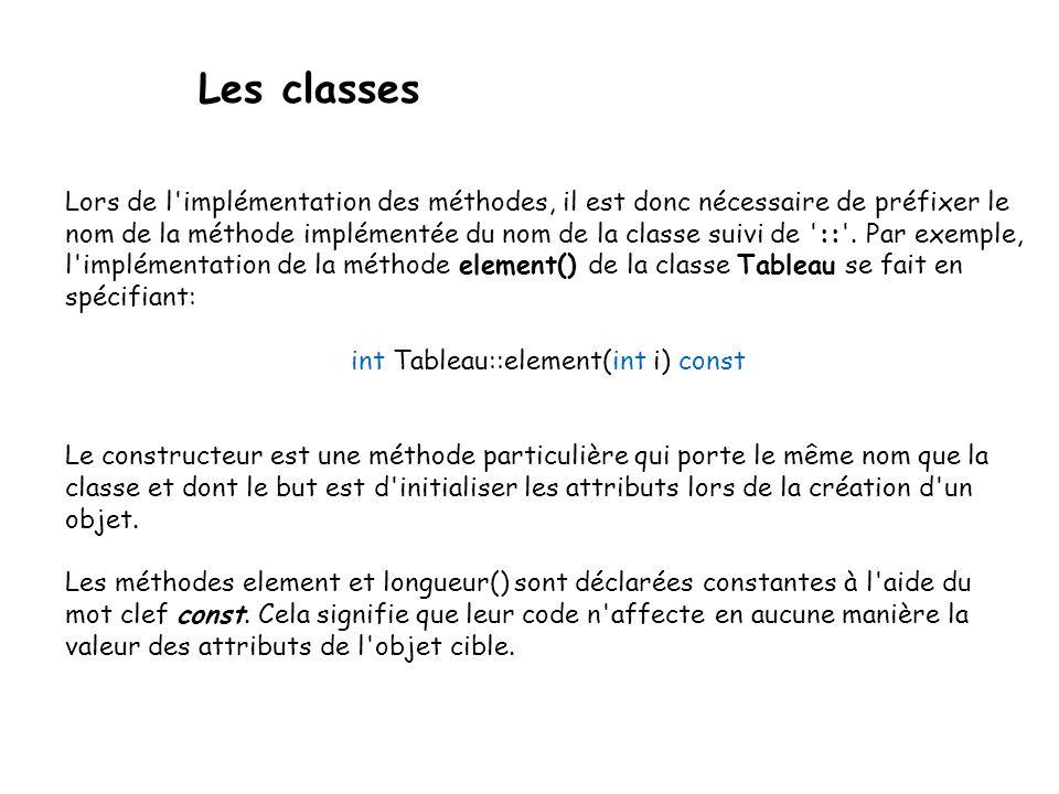 Les classes On doit donc fournir quatre paramètres alors qu on ne veut réellement Passer que deux objets.